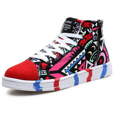 Buy High Top Printed Canvas Shoes - Red 43