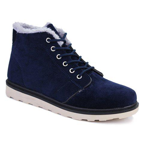 Flocking Suede Lace Up Ankle Boots
