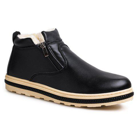 Online Doubel Zips PU Leather Flocking Ankle Boots