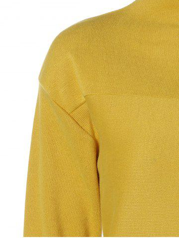 Chic Plus Size Mock Neck Long Sleeve Jersey Dress - 5XL YELLOW Mobile