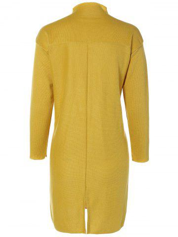 Chic Plus Size Mock Neck Long Sleeve Jersey Dress - 3XL YELLOW Mobile