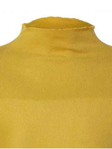 Latest Plus Size Mock Neck Long Sleeve Jersey Dress - 3XL YELLOW Mobile