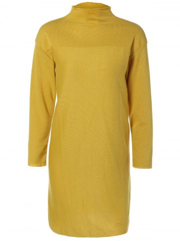 Outfit Plus Size Mock Neck Long Sleeve Jersey Dress - 3XL YELLOW Mobile