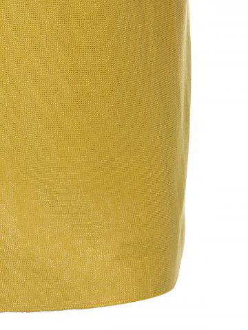 Fashion Plus Size Mock Neck Long Sleeve Jersey Dress - 3XL YELLOW Mobile