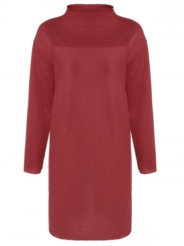 Outfit Plus Size Mock Neck Long Sleeve Jersey Sheath Dress - 2XL RED Mobile