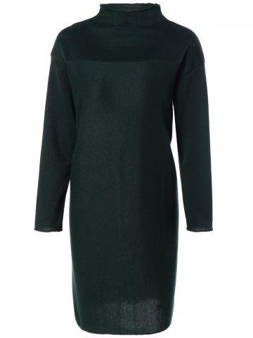 New Plus Size Mock Neck Long Sleeve Jersey Dress - L GREEN Mobile