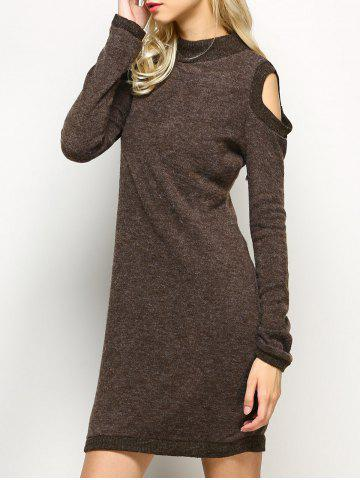 Long Sleeve Cold Shoulder High Neck Bodycon Dress - Light Coffee - M