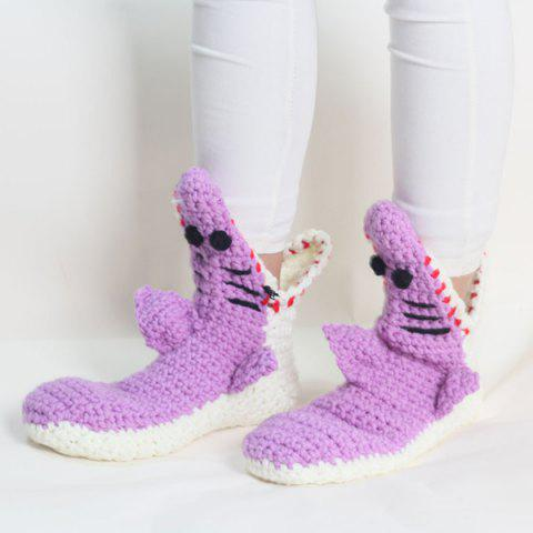 Fashion Cartoon Knitted Shark Slipper Socks LIGHT PURPLE