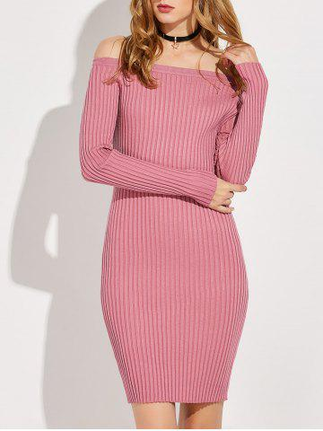 Best Off The Shoulder Long Sleeve Ribbed Jumper Dress