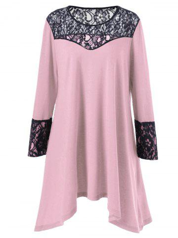 Store Plus Size Lace Trim Asymmetrical T Shirt Dress PINK 4XL