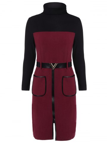 New Knit Panel Belted Slit Dress with Pockets