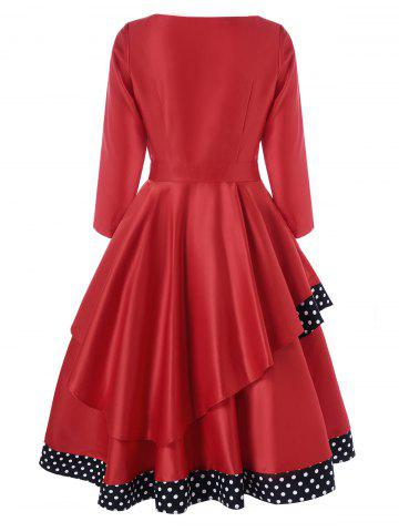 Fancy Layered Polka Dot Vintage Dress - M RED Mobile