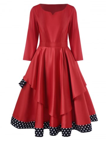 Affordable Layered Polka Dot Vintage Dress - M RED Mobile