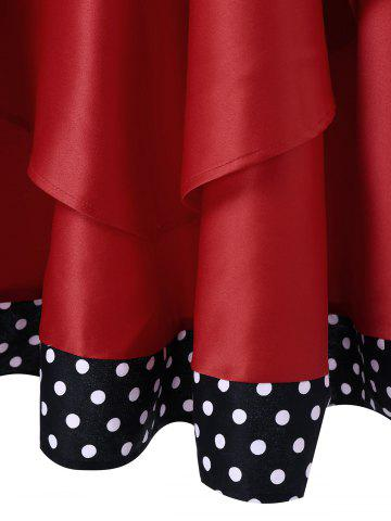 Latest Layered Polka Dot Vintage Dress - XL RED Mobile