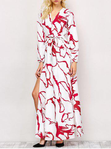 Trendy High Slit Printed Long Sleeve Maxi Dress