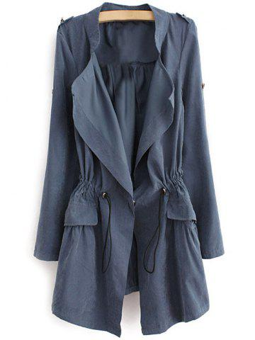 Affordable Epaulet  Drawstring Coat With Pockets BLUE GRAY L