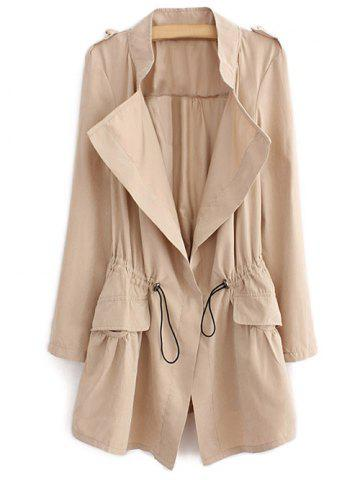 Hot Epaulet  Drawstring Coat With Pockets - LIGHT KHAKI M Mobile