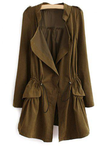 Affordable Epaulet  Drawstring Coat With Pockets - ARMY GREEN M Mobile