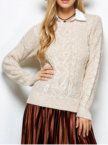 Discount Cable Knit Marled Sweater KHAKI ONE SIZE