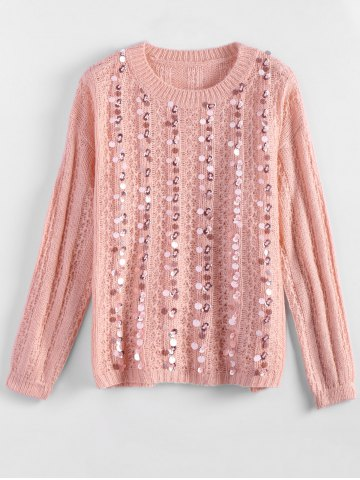 Hot Crewneck Sequins Sweater PINK ONE SIZE