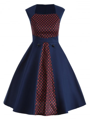 Online Vintage Polka Dot Color Block Swing Dress DEEP BLUE 2XL
