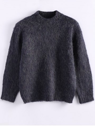 Outfits Fluffy Funnel Sweater PURPLISH BLUE ONE SIZE