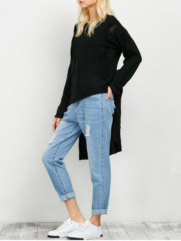 Ripped High Low Long Sweater - Black - One Size