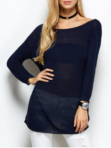 Outfit Open Stitch Long Sweater BLUE ONE SIZE
