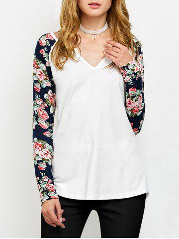 Outfit Low Cut Floral Sleeve T-Shirt WHITE M