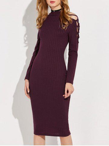 New Knitted Criss Cross Ribbed Pencil Dress WINE RED L