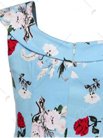 Fashion Cap Sleeve Floral Fit and Flare Dress - L CHARM Mobile
