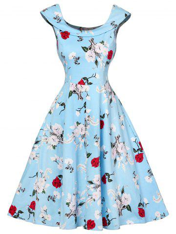 Trendy Cap Sleeve Floral Fit and Flare Dress - L CHARM Mobile