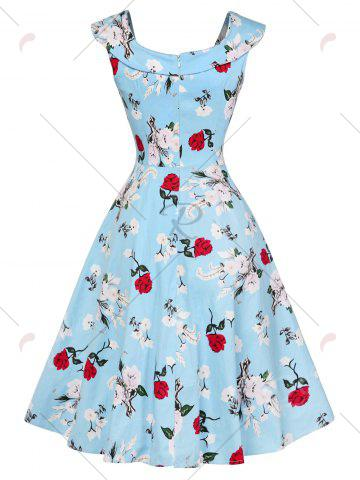 Fashion Cap Sleeve Floral Fit and Flare Dress - S CHARM Mobile