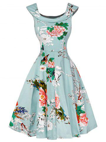 Unique Cap Sleeve Floral Fit and Flare Dress - L LIGHT GREEN Mobile