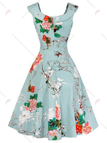 Affordable Cap Sleeve Floral Fit and Flare Dress - S LIGHT GREEN Mobile