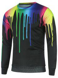 Crew Neck Colorful Paint Dripping Printed Sweatshirt