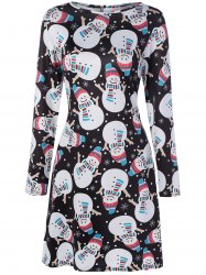 Snowman Printed Long Sleeve Knee Length Christmas Dress