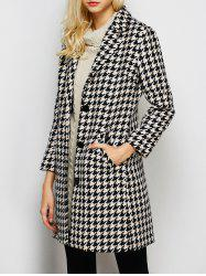 Lapel Single Breasted Houndstooth Coat - BLACK XL