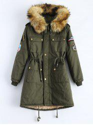 Hooded Patch Parka Coat -