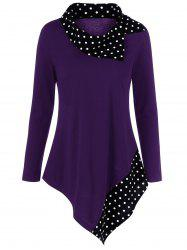 Polka Dot Plus Size Asymmetrical Tee