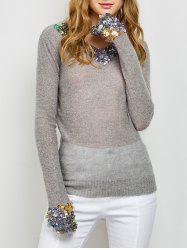 V Neck Sequins Tunic Sweater -