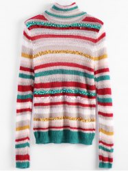 Turtleneck Striped Sequins Sweater -