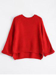 High Low Flare Raglan Sleeve Knit Sweater