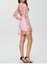 Lace Belted Open Back Plunge Short Club Dress with Sleeves - PINK XL