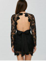 Lace Belted Open Back Plunge Short Club Dress with Sleeves - BLACK