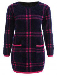 Pocket Long Sleeve Checked Dress