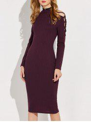 Knitted Criss Cross Ribbed Pencil Dress
