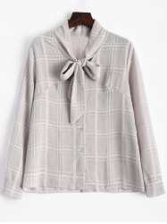 Plaid Pussy Bow Long Sleeves Blouse -