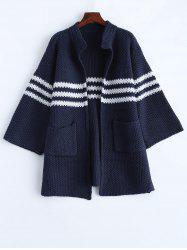 Knitted Chunky Striped Cardigan -