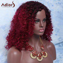 Mixed Color Medium Afro Curly Side Parting Fashion Women's Synthetic Hair Wig